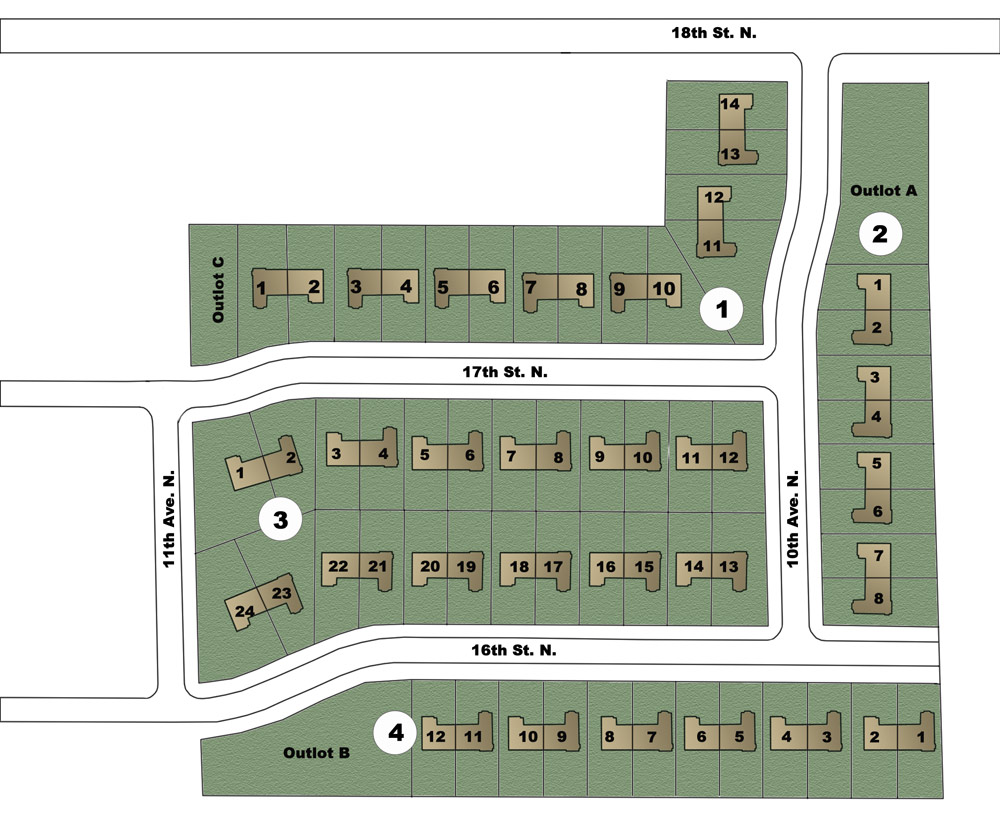 Site Plan Northfield Commons Association maintained living in Princeton MN